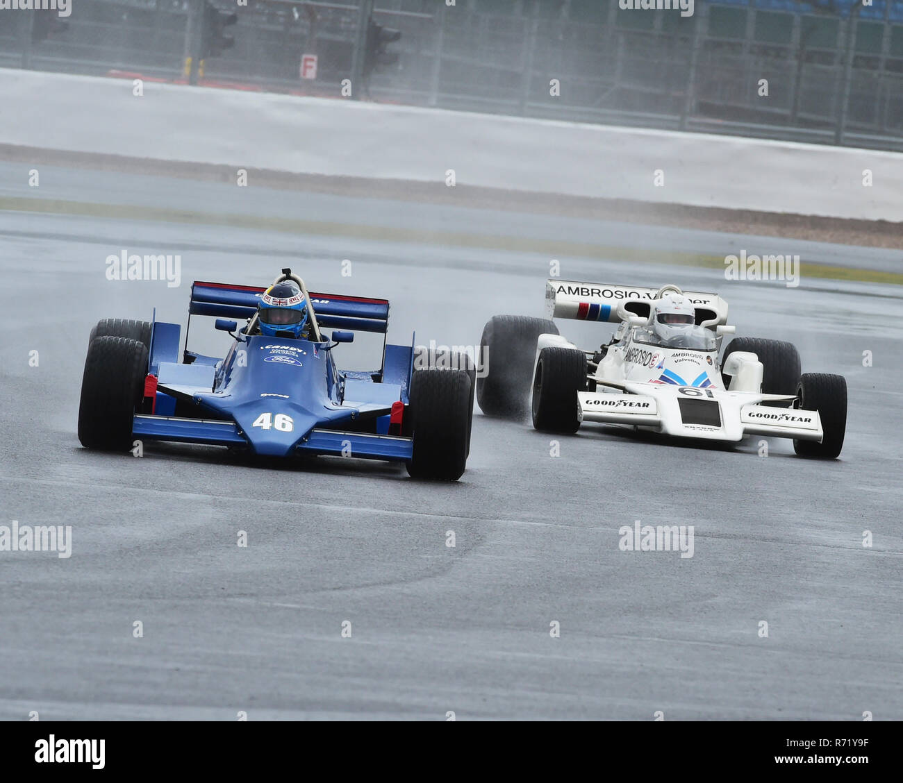 Peter Williams, Tyrrell 090, Jason Wright, Shadow DN8, FIA Masters, Historic Formula One, Silverstone Classic 2015, Chris McEvoy, circuit racing, cjm- - Stock Image