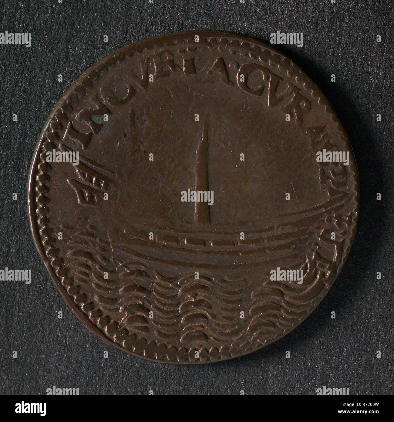 Medal on the war preparations in the Republic, jeton utility medal penny swap copper, ship without mast and rudder legend: INCVRIA CVRAS PARIT (the carelessness worries) Zeeland - Stock Image