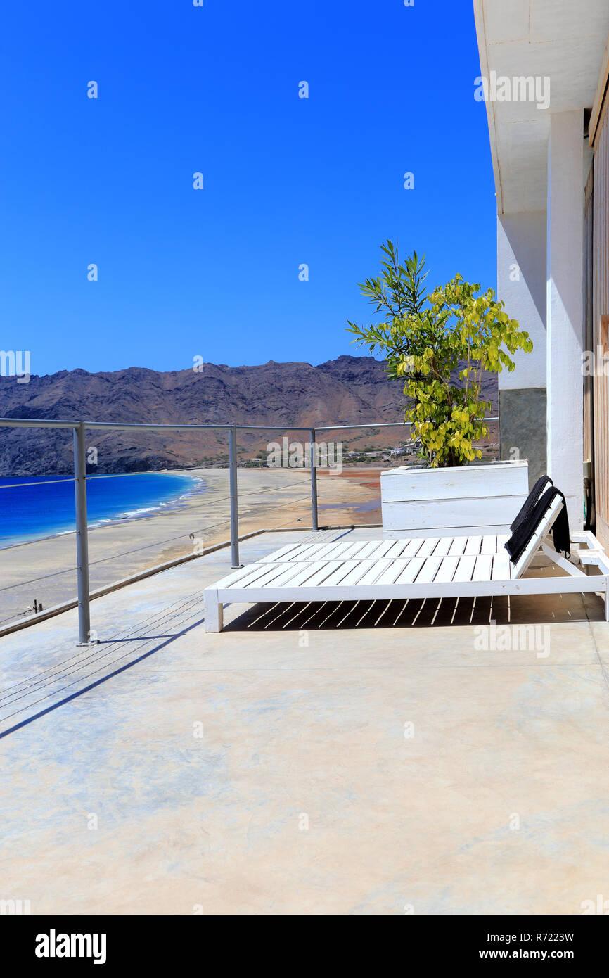 Terrace with sunloungers, São Pedro, São Vicente, Cape Verde, Cabo Verde, Africa. - Stock Image