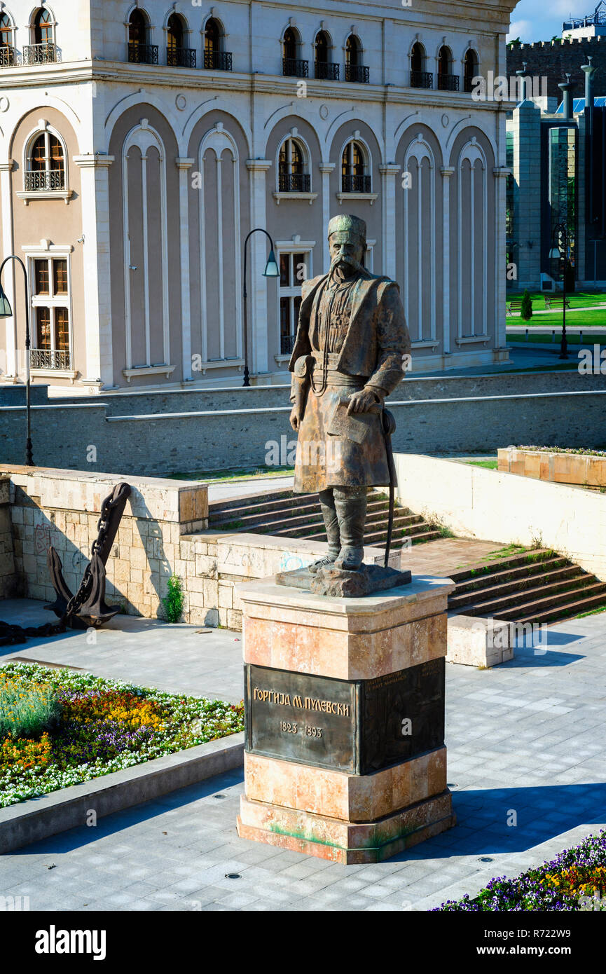 National hero Georgi Pulevski Statue in front of the VMRO or Museum of the Macedonian Struggle for Sovereignty and Independence or Museum of the Victi - Stock Image