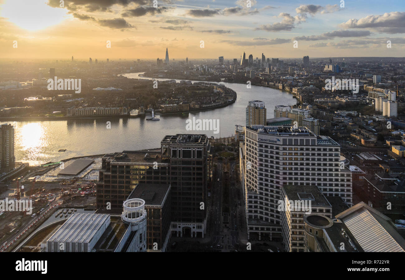 London, England, UK - February 27, 2015: Sunset over the skyline and skyscrapers of the City of London financial district and neighbouring boroughs of - Stock Image