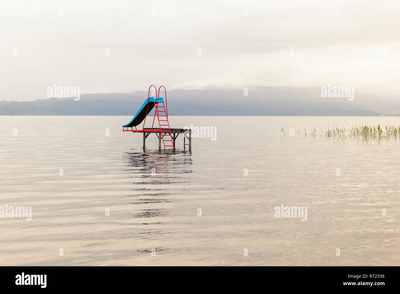 Water slide in Lake Ohrid, Macedonia - Stock Image