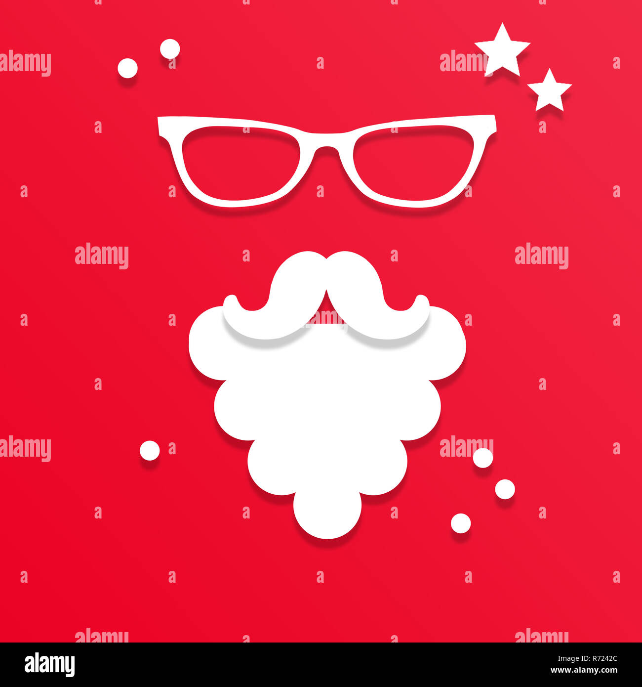 cac6056936c Santa Claus in glasses on red background. Santa Claus with white beard and  mustache in