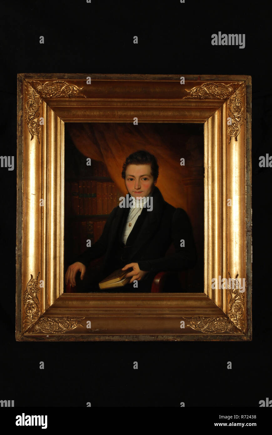Petrus van Schendel, Portrait of man from Bernet, portrait painting footage wood oil panel, Standing rectangular portrait of man from the genus Bernet bottom right signature and year: PVS fect 1834 Rotterdam The collection C Bernet was auctioned on 20 June 1933 in Rotterdam. Stock Photo