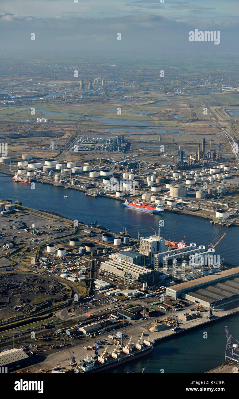 An aerial view of Teesport, Middlesborough, Teeside, North East England, UK - Stock Image