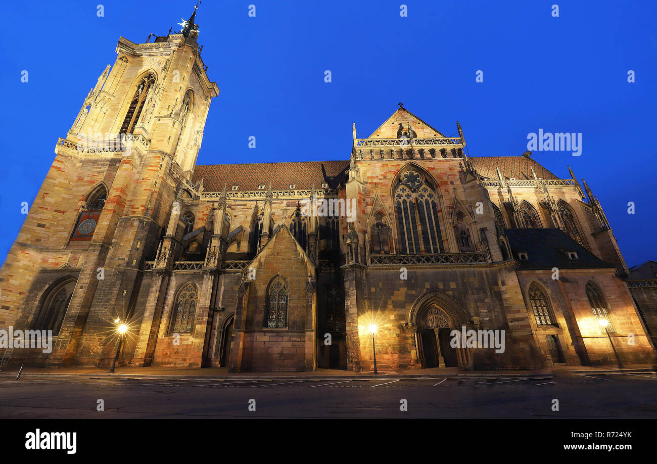Built between 1235 and 1365 in Colmar, France , the Saint Martin s collegiate church is an important example of Gothic architecture in Alsace. - Stock Image