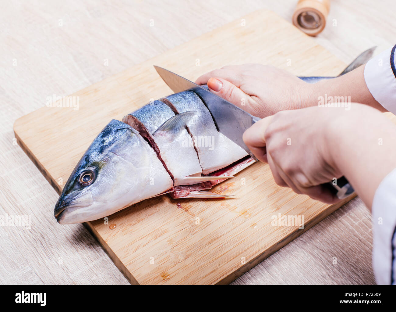 Cook Cuts Raw Tuna Fish Hands Closeup Stock Photo Alamy