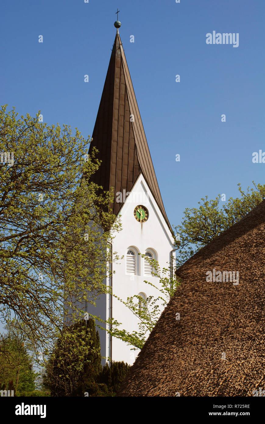 The church of St. Clement , Nebel, Amrum island, Germany. Amrum's largest village, Nebel, is located near the eastern coastline - Stock Image