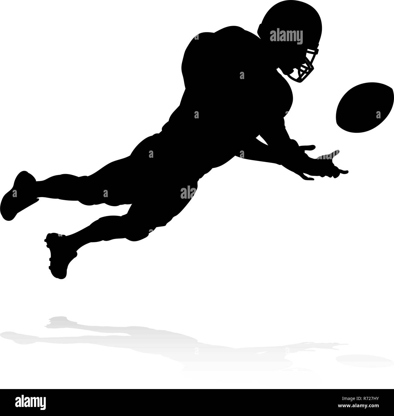 Silhouette American Football Player  - Stock Vector