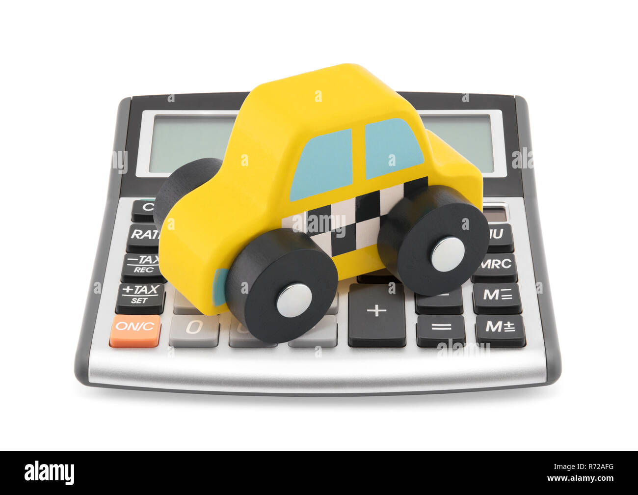 Calculator and taxi toy car - Stock Image