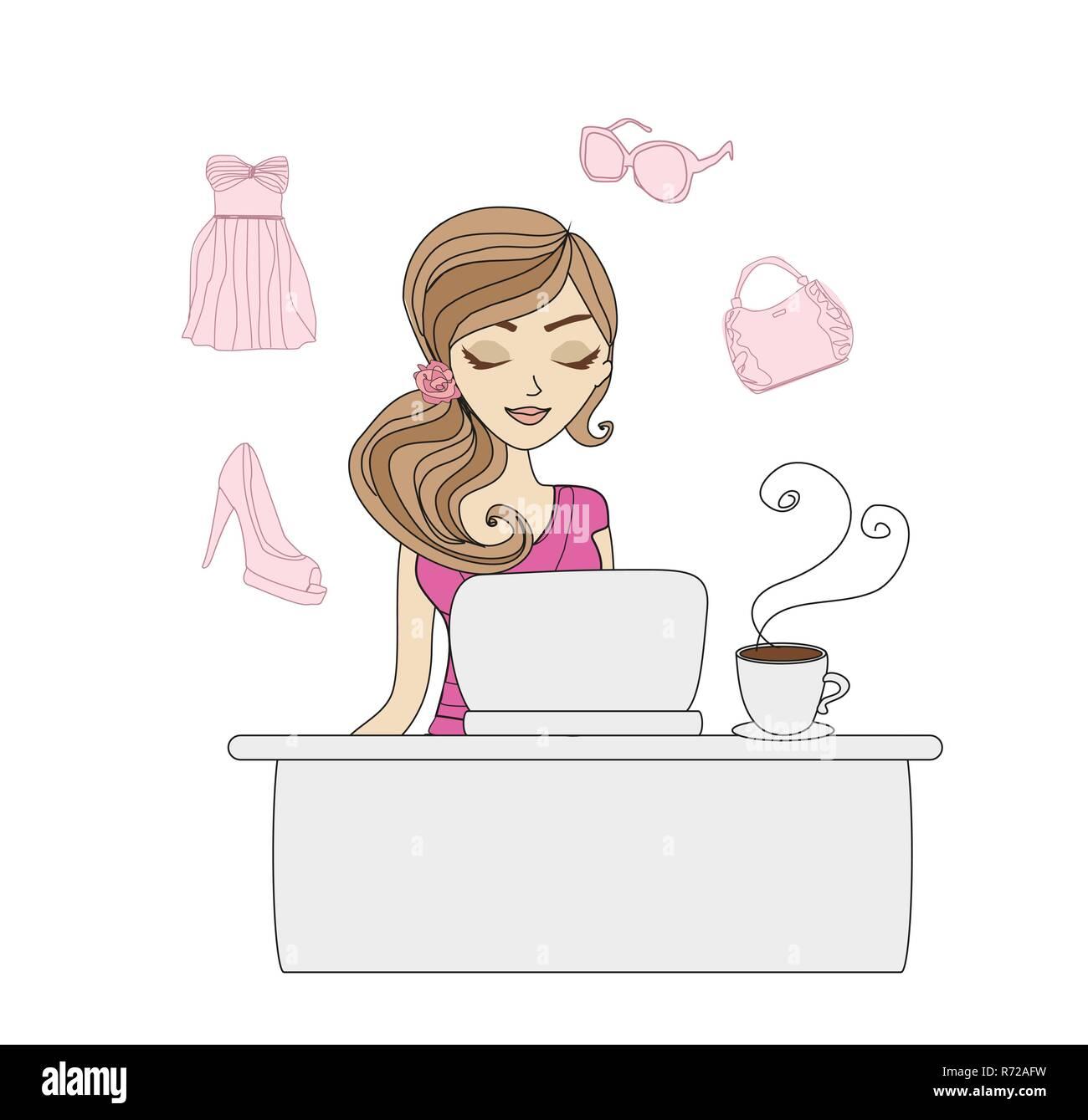 Online shopping girl - Stock Vector