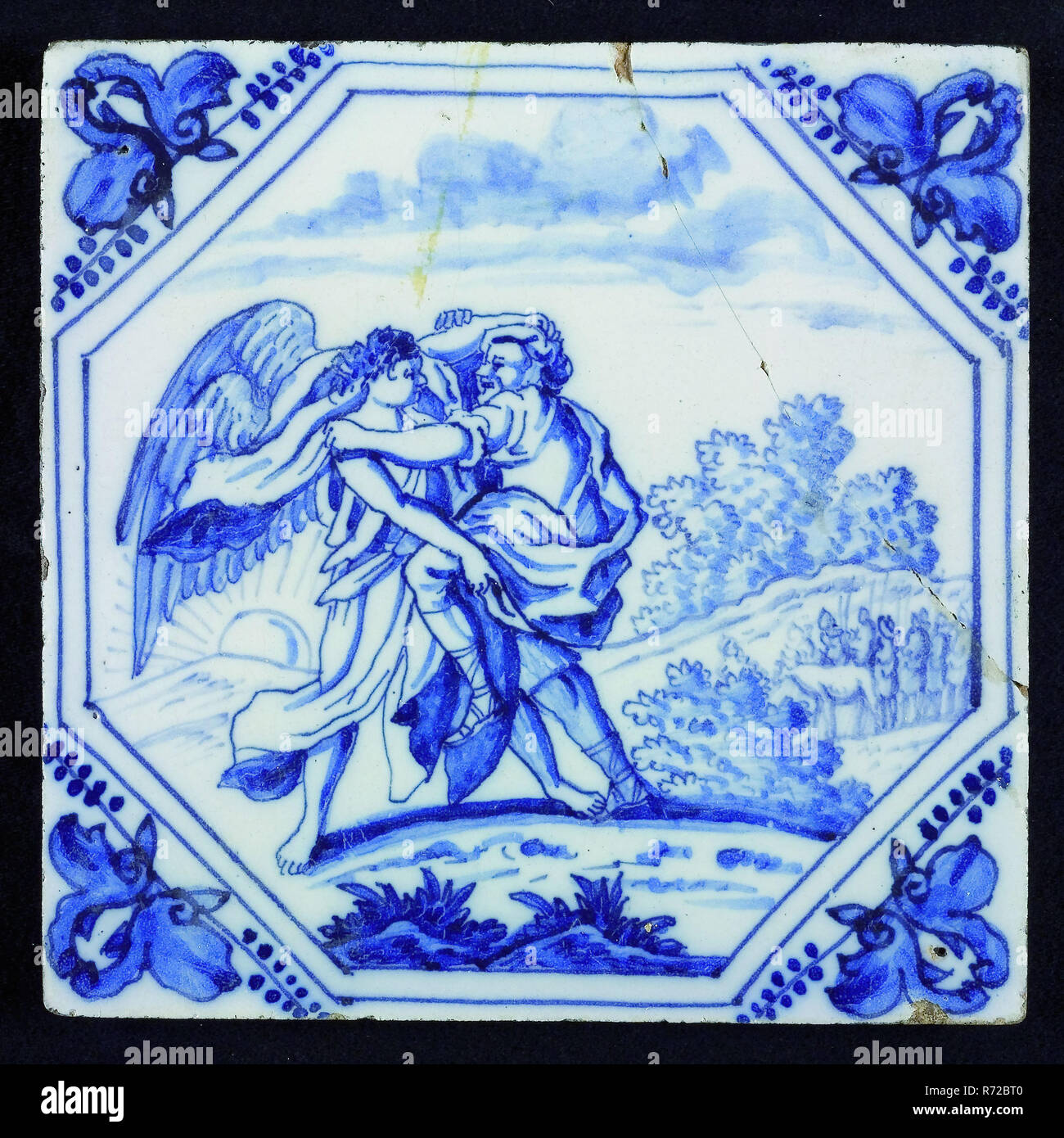 tile manufacturer: Aalmis, Scene Tile with biblical representation: Jacob wrestles with angel, wall tile tile sculpture ceramic pottery tin glaze paint, baked 2x glazed painted Square bevelled edges yellow shard two nail holes. Blue painting (cobalt paint) on white tin glaze Aalmis Aelmis bible Old Testament religion Jacob - Stock Image