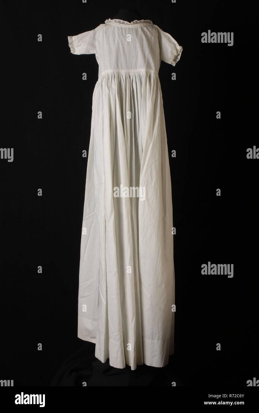 d928b40da27 Long wide-sloping baby slip dress in white cotton