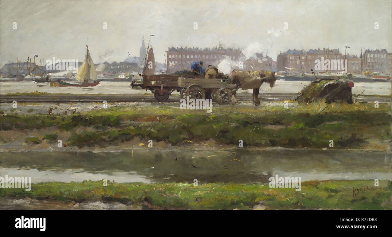 August Willem van Voorden, Unloading train wagon along the Nieuwe Maas, cityscape painting visual material oil paint linen wood, Landscape format oil on canvas Overloading of coal from train wagon on towing vehicle on marshalling yard on the northern bank of the Meuse near the Maas station From the north to seen south with the Nieuwe Maas in the background On the other side is the North Island: on the right the facades of the houses on the Maaskade (east side) are visible. More to the left is the Nassaukade on Feijenoord visible with the business complex of the fa. Van den Bergh (later Unileve - Stock Image
