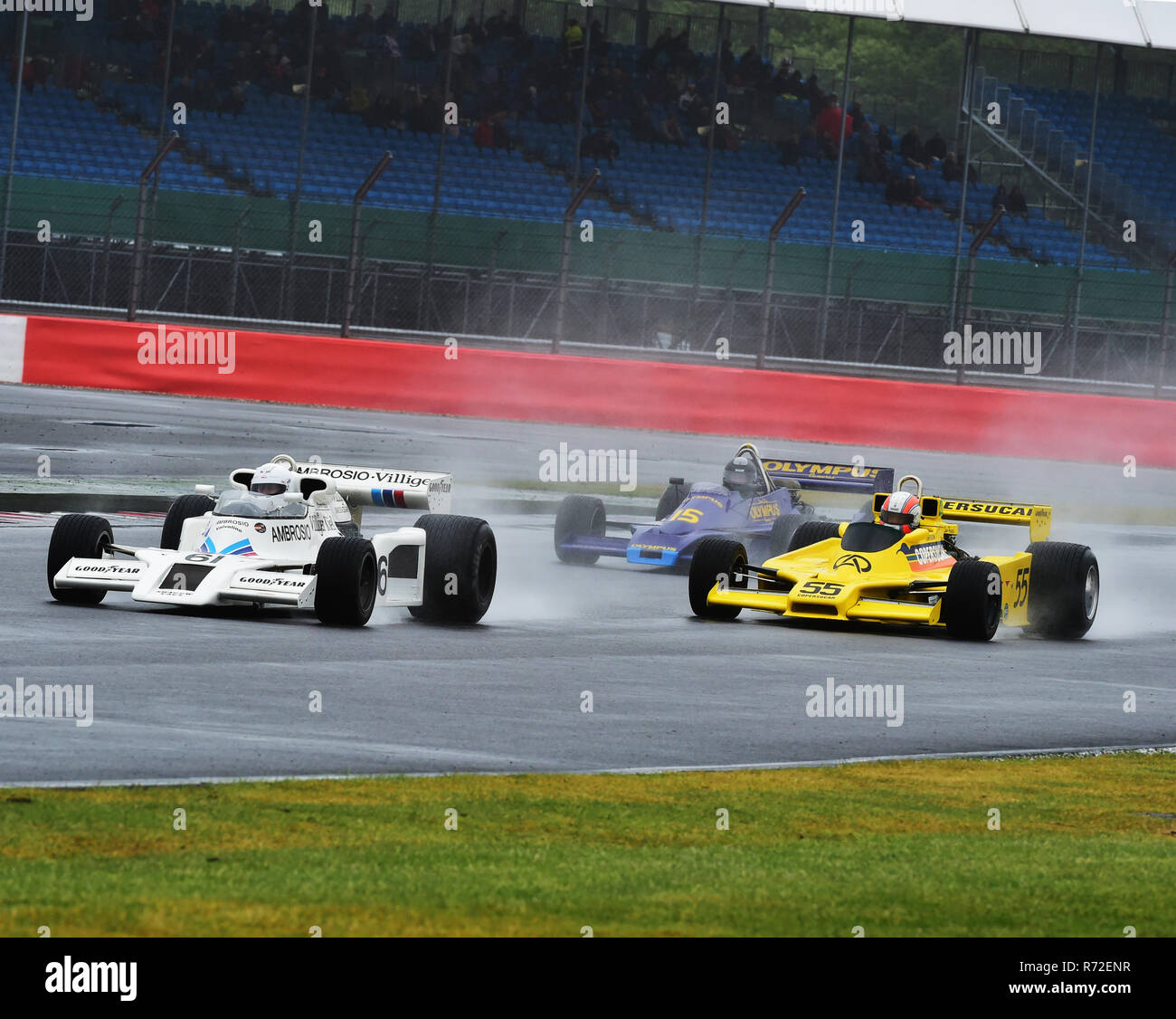 Jason Wright, Shadow DN8, Sam Hancock, Fittipaldi F5A, Michel Baudoin, Hesketh 308E, FIA Masters, Historic Formula One, Silverstone Classic 2015, Chri - Stock Image