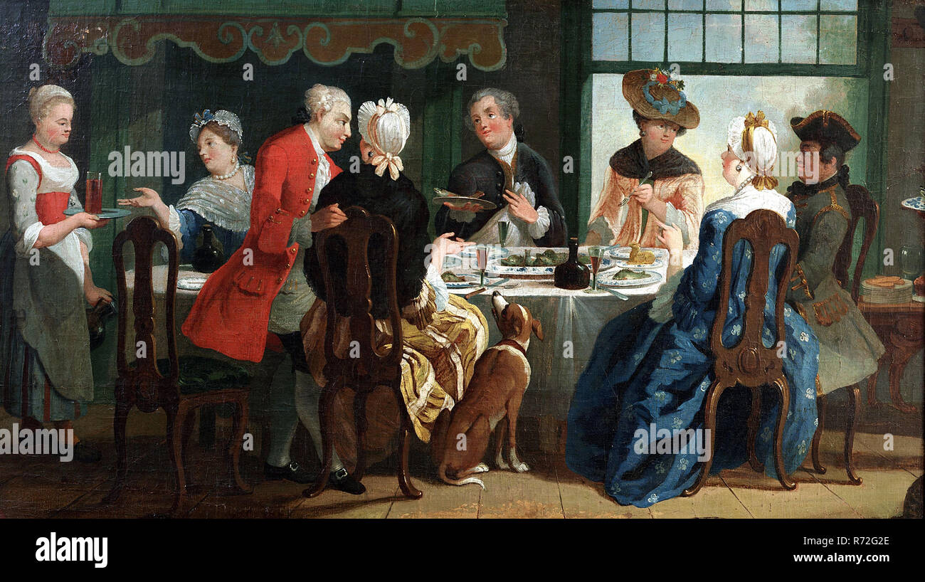 Company at the table, entitled 'De Baarspartij', in gilded list, painting visual material oil paint linen wood pâte gold leaf, name) Company at the table fish meal the 'Baarspartij'; rectangular lying format in gilded frame (style Empire). Departure (establishment circa 1740) with eight people: maid with tray and jug, seven people at the table: four ladies and three gentlemen (one standing) dressed according to the fashion of about 1780; at the head of the table distinguished black man Interior: floor of wooden parts chairs table with tablecloth and side table with open sliding window in the b - Stock Image