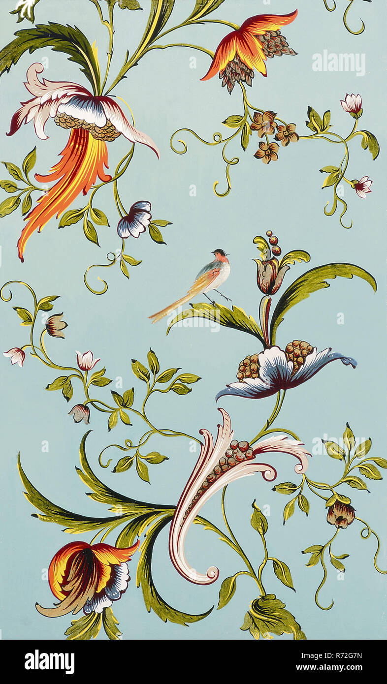 Wallpaper With Floral Motifs And Bird Painting Wallpaper Painting