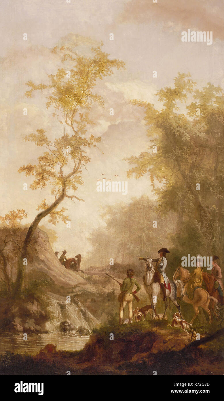 Gerrit Malleyn, Room wallpaper with hunting company, landscape wallpaper painting canvas linen oil painting
