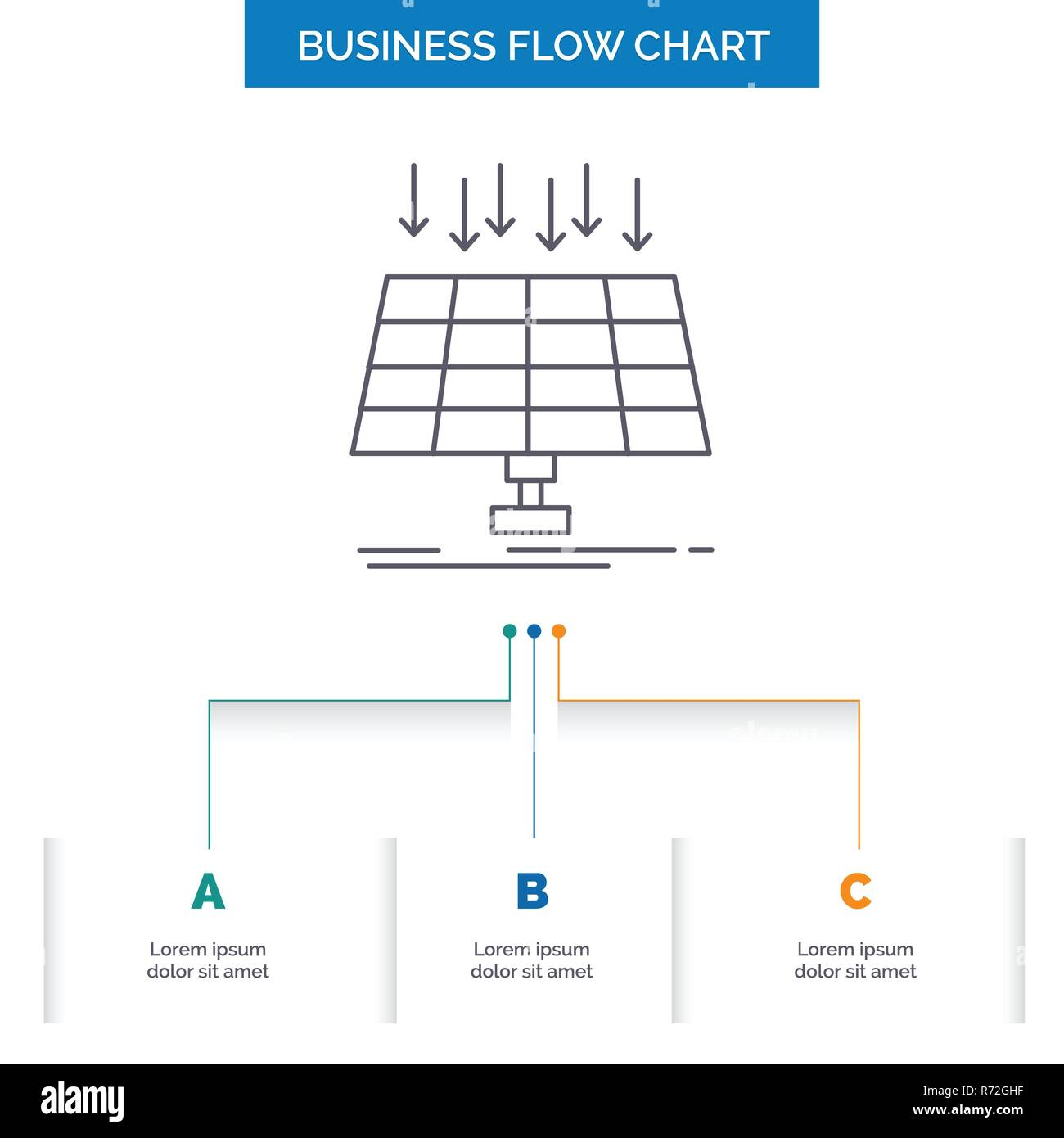solar panel energy technology smart city business flow chart design with 3 steps line icon for presentation background template place for text R72GHF solar, panel, energy, technology, smart city business flow chart