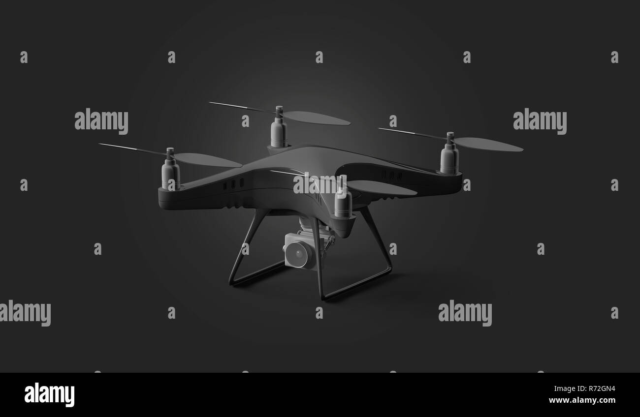Blank black quadcopter mockup, stand isolated on dark background, 3d rendering. Empty fly quadrocopter mock up, side view. Digital dron for filming template. Modern robot with propeller and camera. - Stock Image
