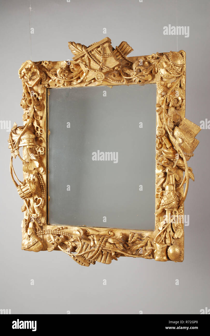 Gilded Lime Wood Mirror In Frame With Cut Toilet Attributes