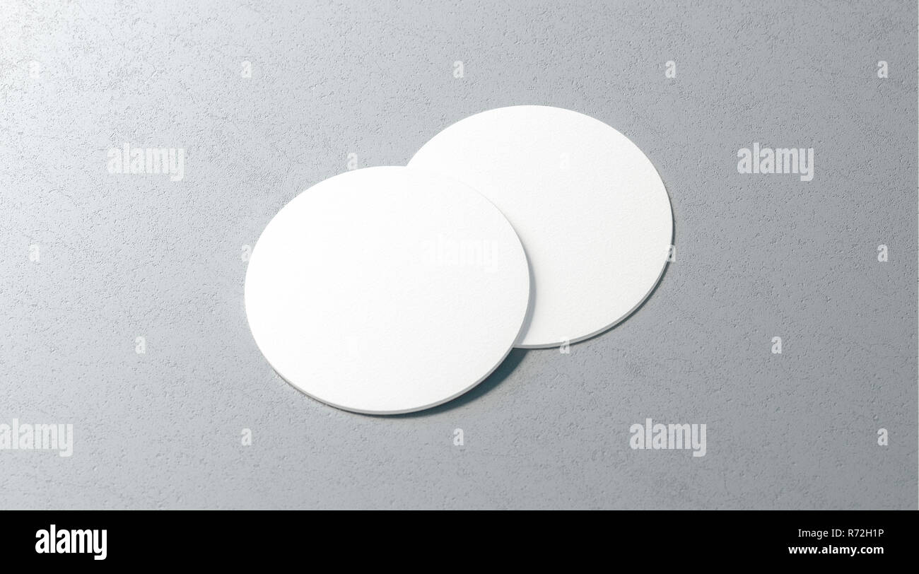 Blank white two beer coasters mockup set on surface, 3d rendering. Empty cork table-mat mock up, top view. Clear label plate for bottle protect template. Stock Photo