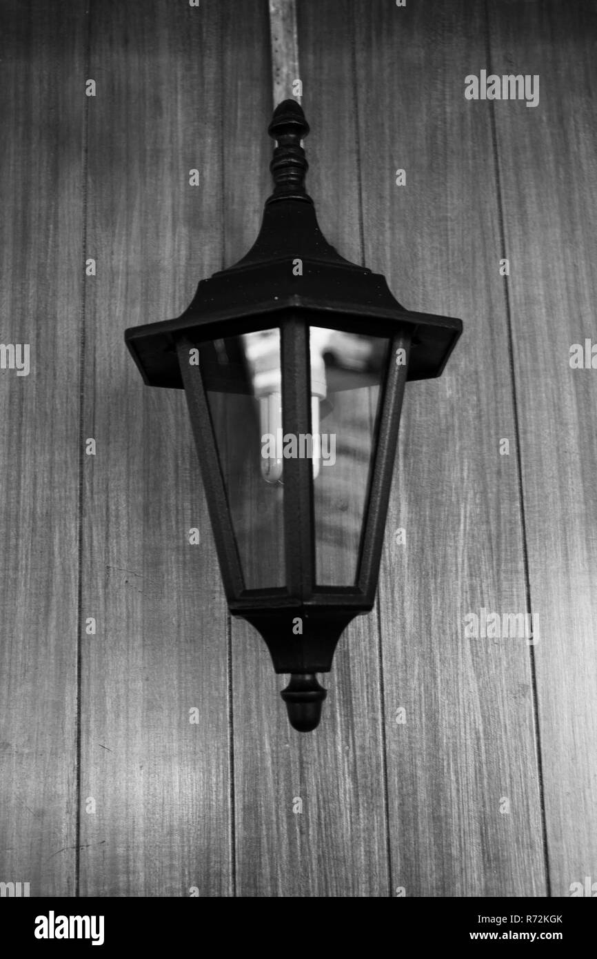 Antique lantern for interior photo black and white - Stock Image