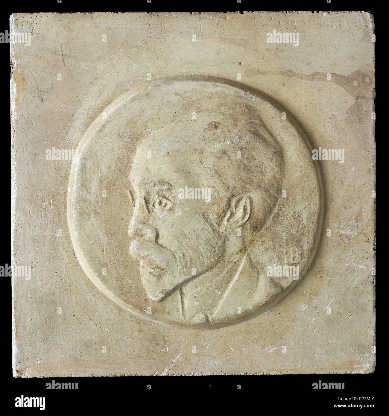 Leendert Bolle, Two halves of mold, respectively high and low relief, inside circle man's portrait with beard and mustache in profile, mold casting sculpture gypsum, signed LB Rotterdam - Stock Image