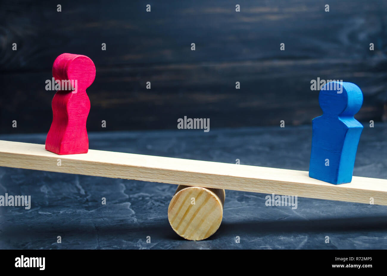 Figures of a man and a woman on the scales. inequality concept : man and women on a weighing balance, gender pay gap. divorce. Division of property in - Stock Image