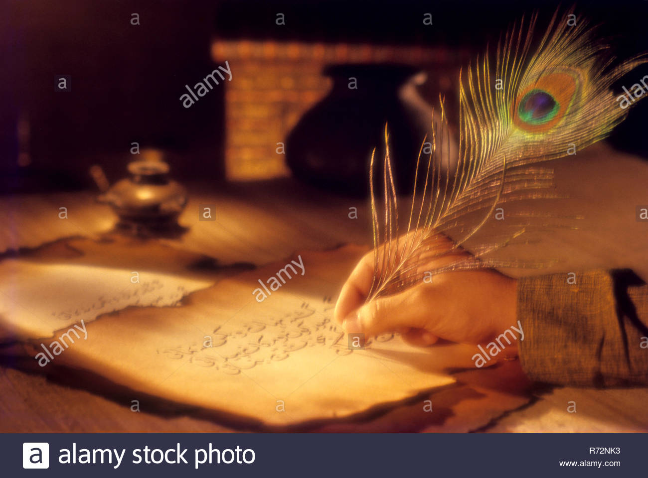 Writing With Peacock Quill, Old-fashioned - Stock Image