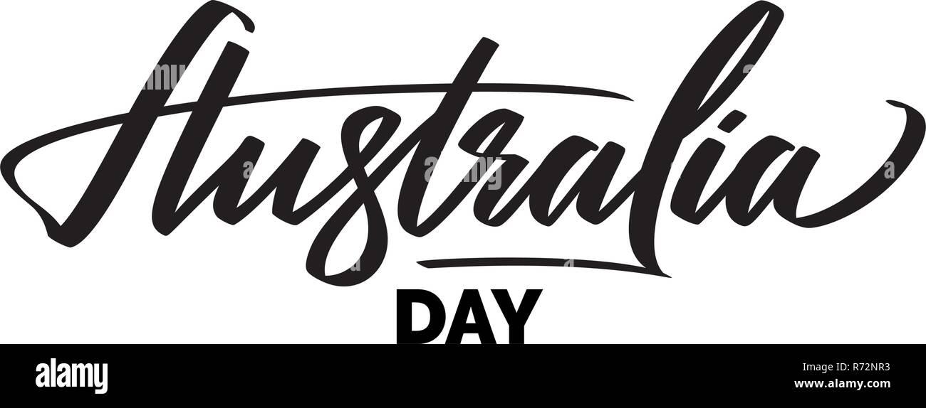 Australia Day Typography Lettering Word Art Brush Text