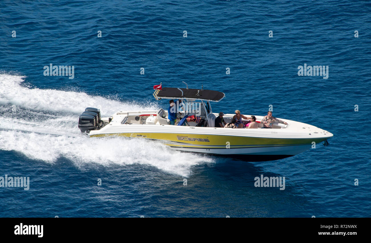 Speedboat Wellcraft Scarab Caribbean Sea Barbados Stock