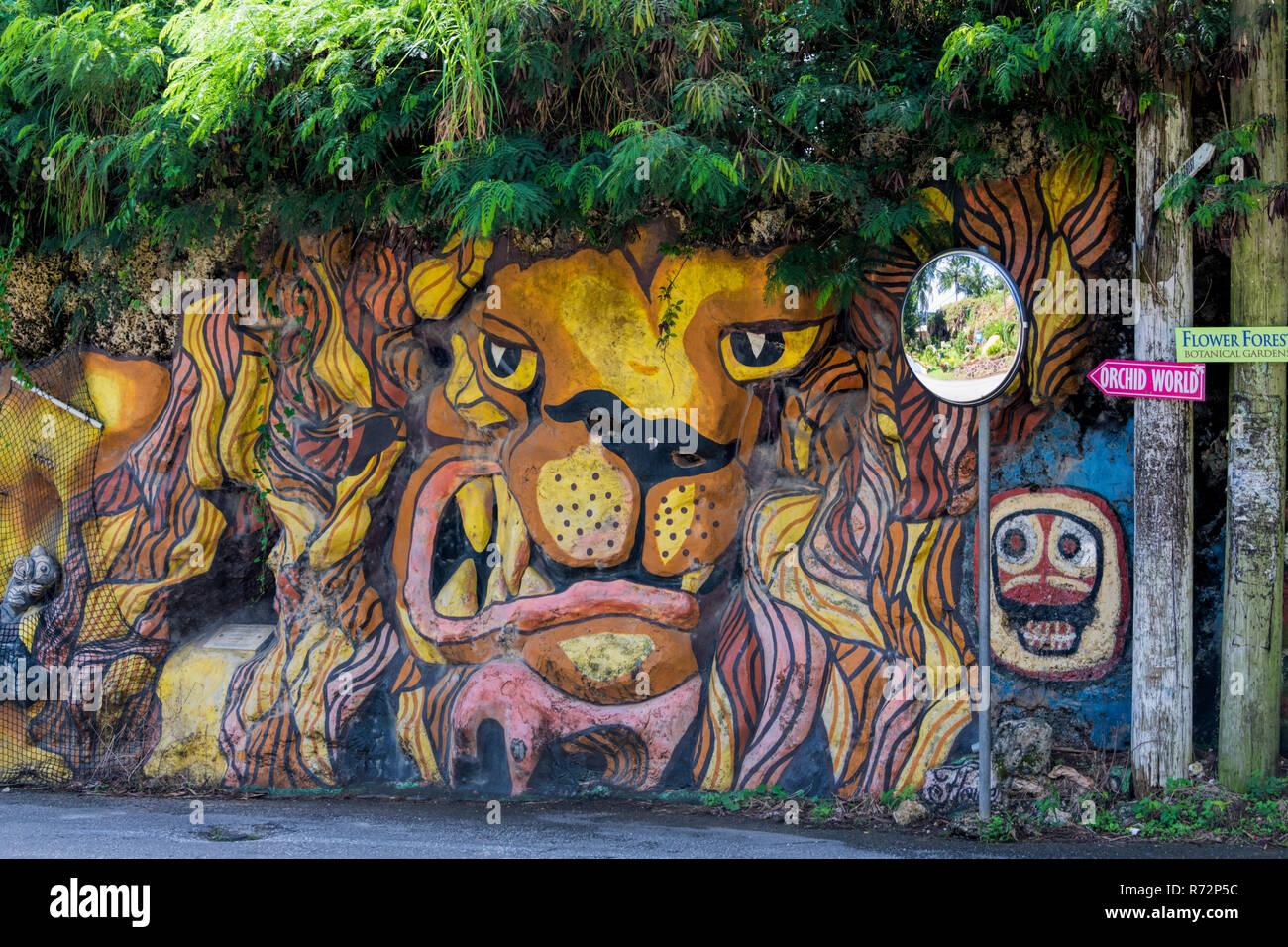 Colourful animal graffiti Barbados Stock Photo