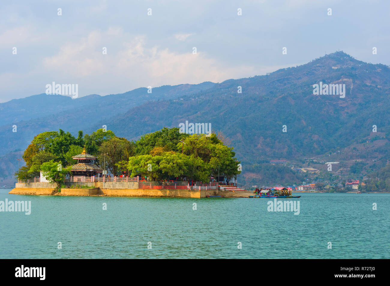 Island on Phewa Lake, Pokhara, Nepal - Stock Image