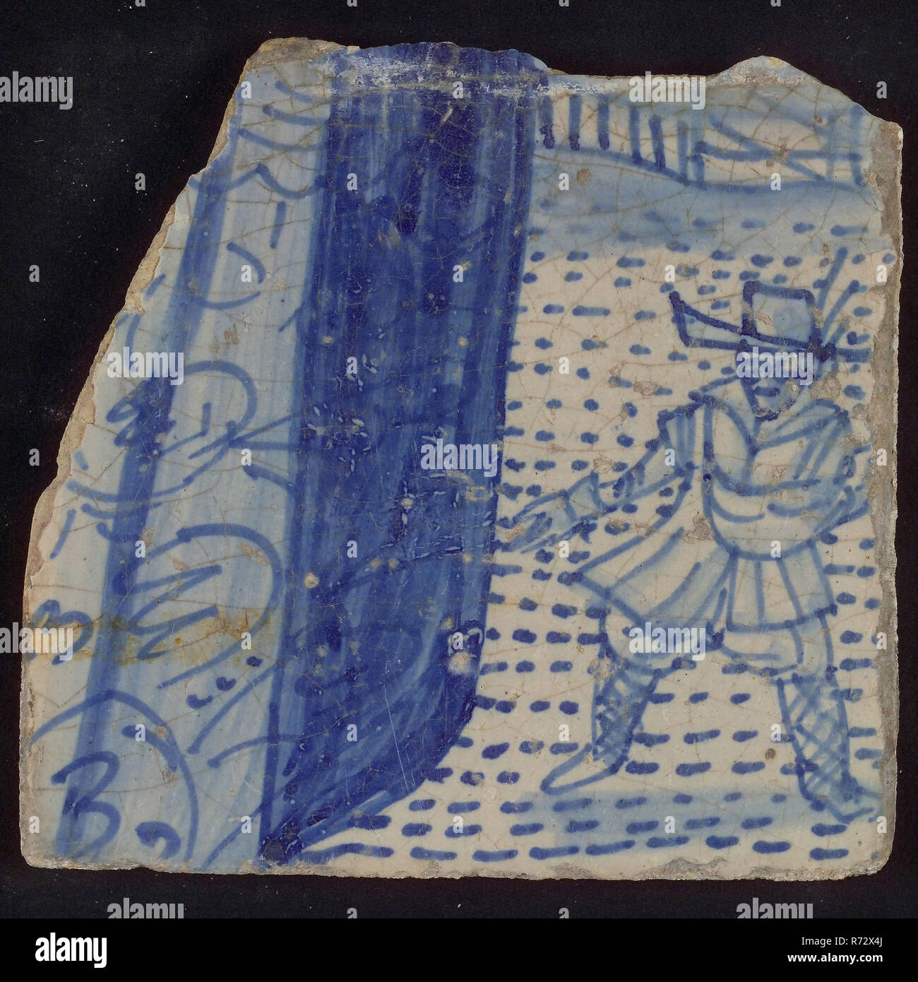 Loose tile of tableau 'Hoop', on which sower in blue, tile picture footage fragment ceramics pottery glaze tin glaze, in form made baked glazed painted baked Tile from tableau 'Hoop' sower on field is shown quite coarse. Left part of the robe of the woman who is the personification of hope. Gray-yellow baking scraped earthenware Marked on the backside location number on the backside: * 13 live Stock Photo