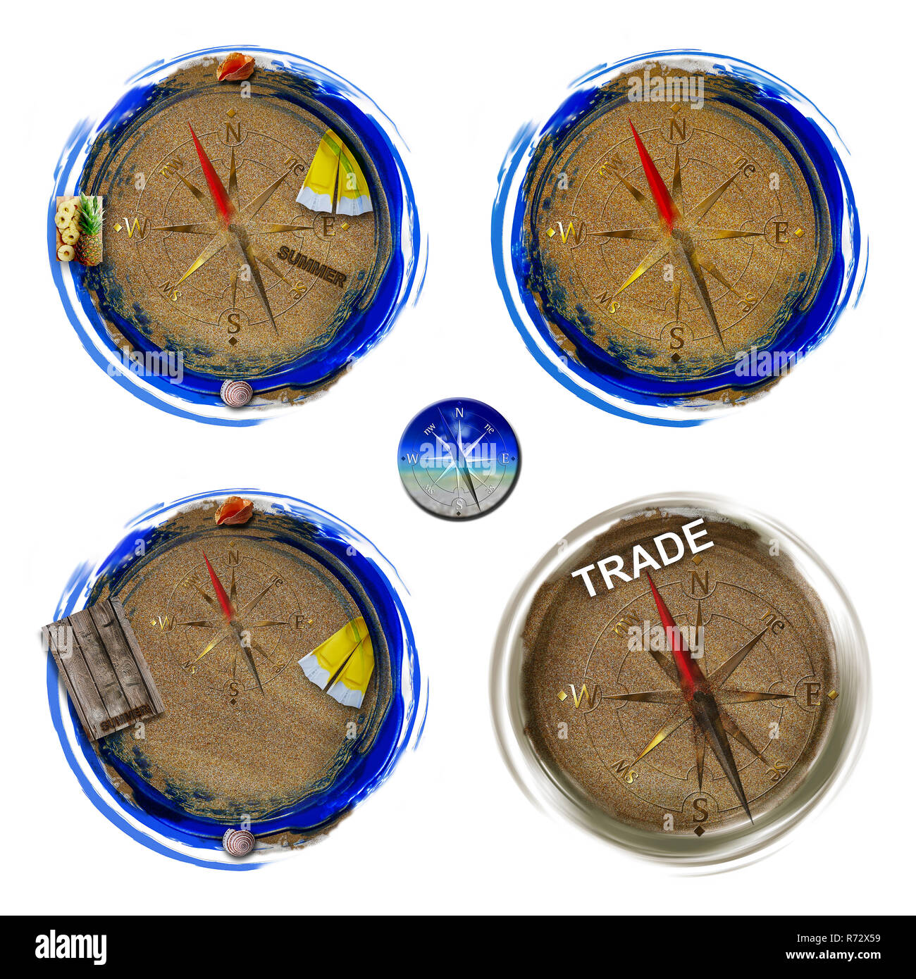 Image of a compass on sand. Travel concept. - Stock Image