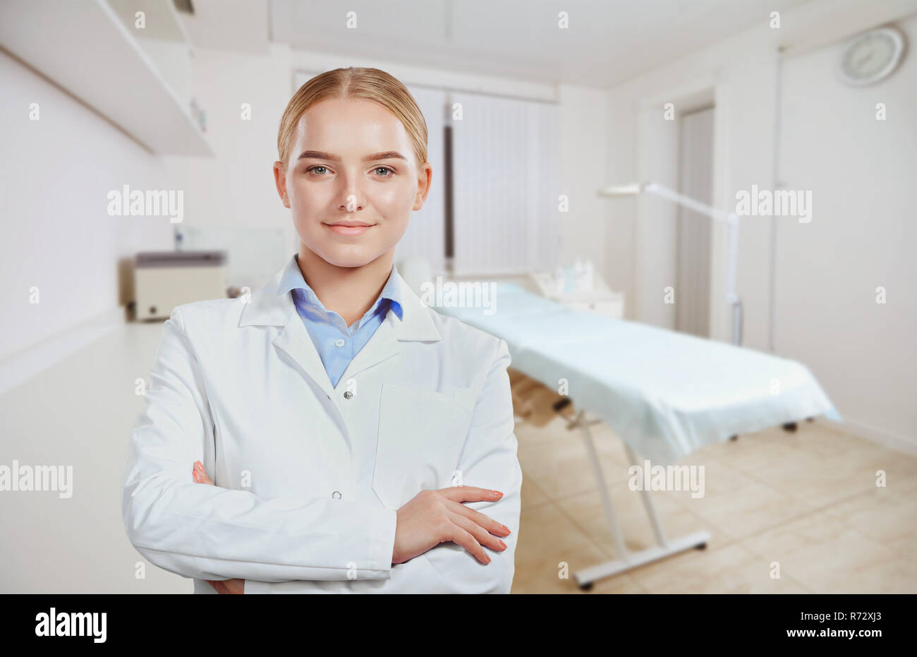 Cosmetologist, doctor woman on the background of the office.  - Stock Image
