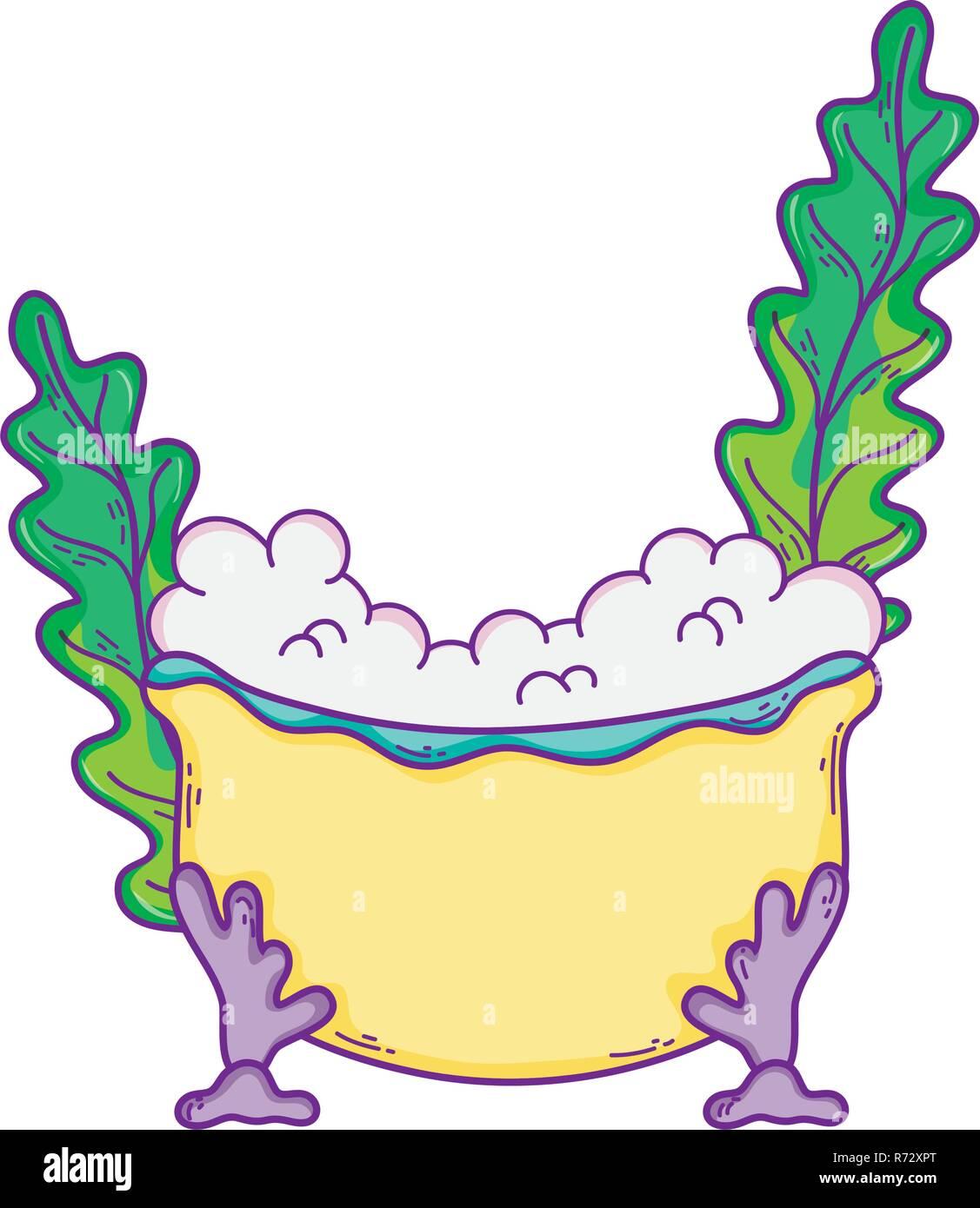 bathtub with seaweed icon - Stock Image