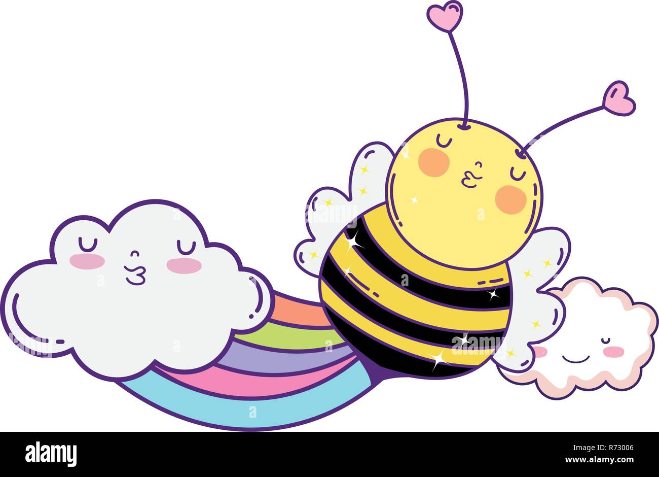 little bee with rainbow kawaii character - Stock Image