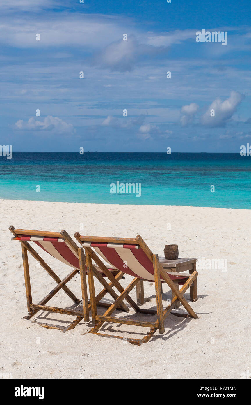 Beach Chairs On The Beach Atoll Island Maldives Stock Photo Alamy
