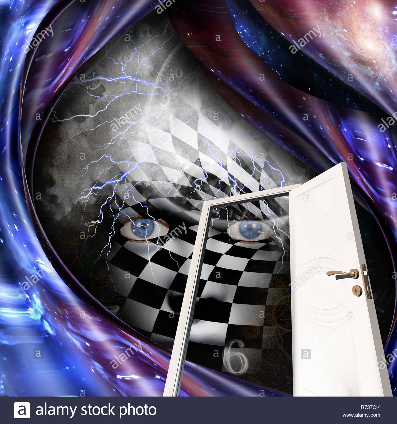 Abstract painting. Chessboard face, time spirals and open door. 3D rendering - Stock Image