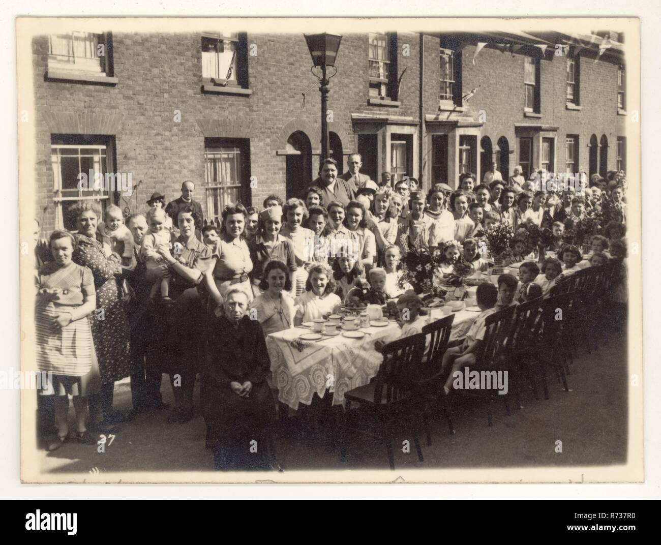 WW2 Street peace V.E. day party celebration unknown location, U.K. dated 12 May 1945 Stock Photo