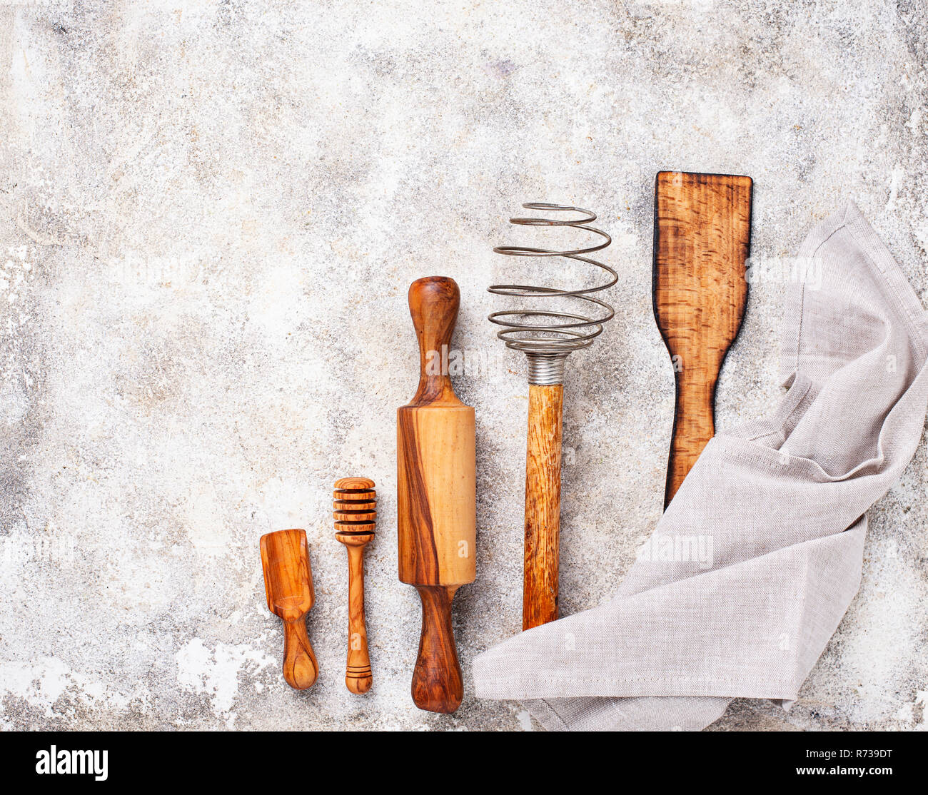 Wooden kitchen utensils from olive wood - Stock Image