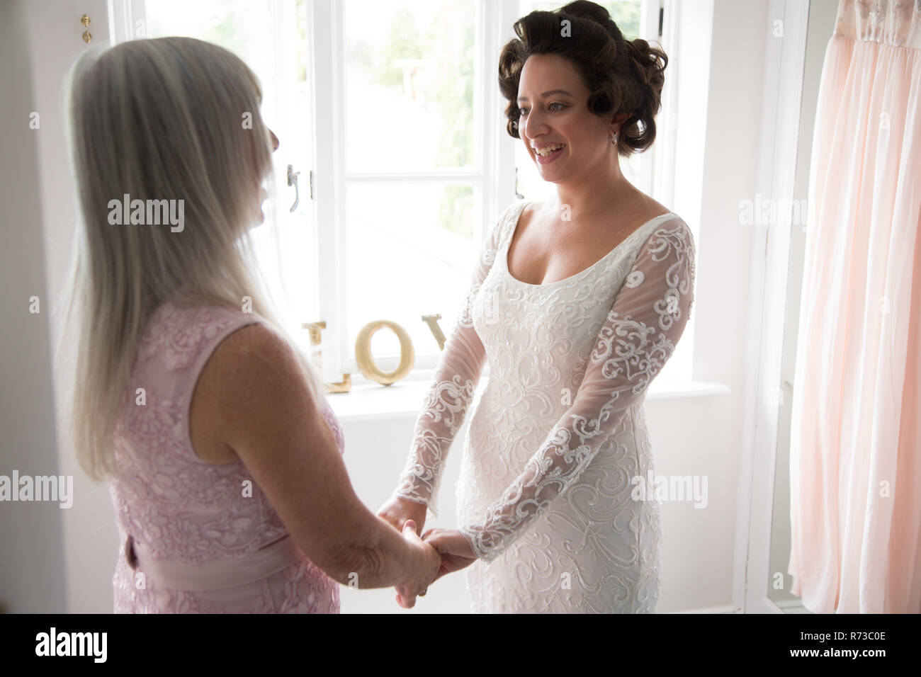 Bride And Mother On Morning Of Wedding Day Stock Photo Alamy,Party Dress For Wedding Guest