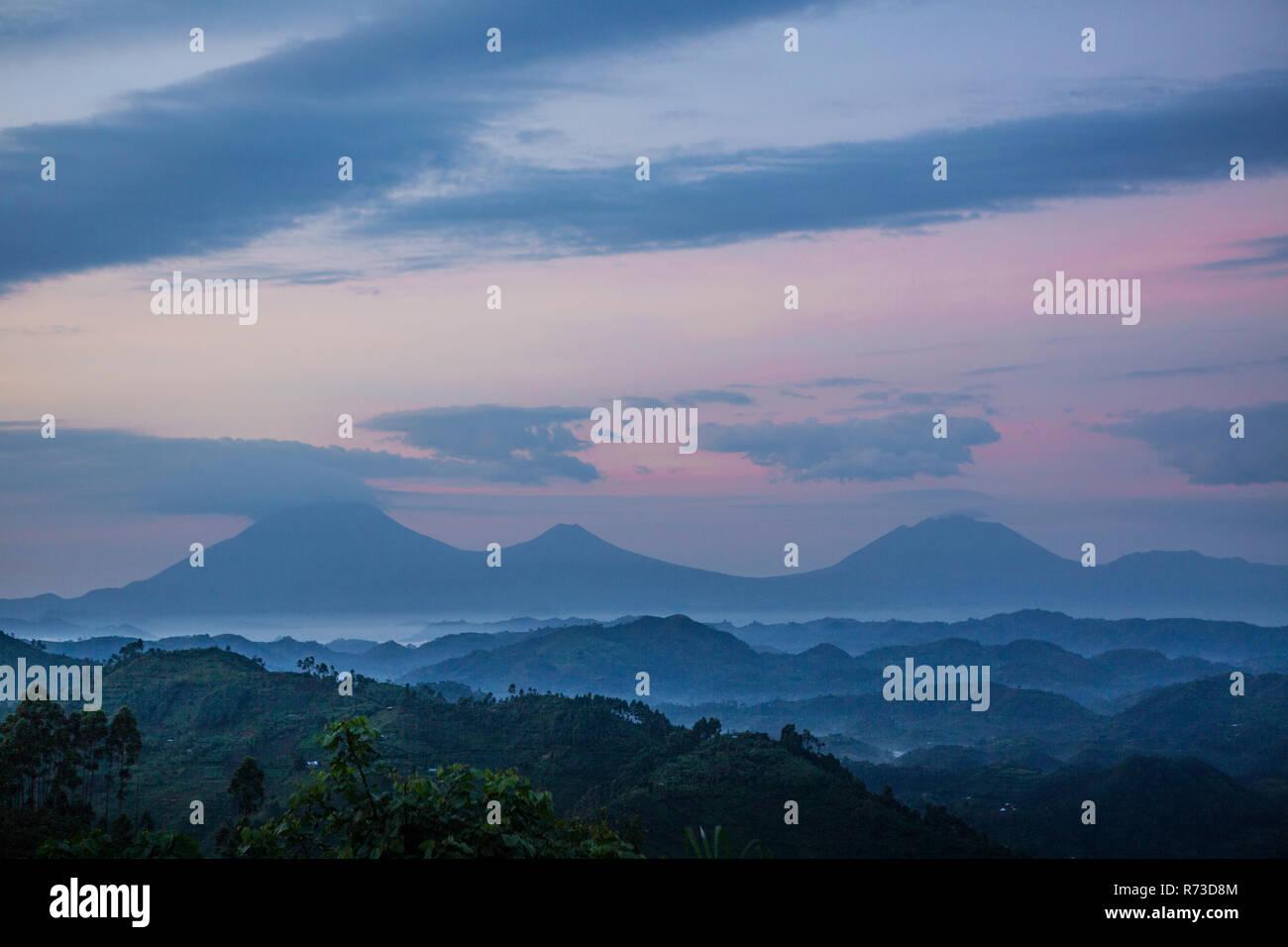 Virunga Mountains with its volcanoes, Uganda - Stock Image