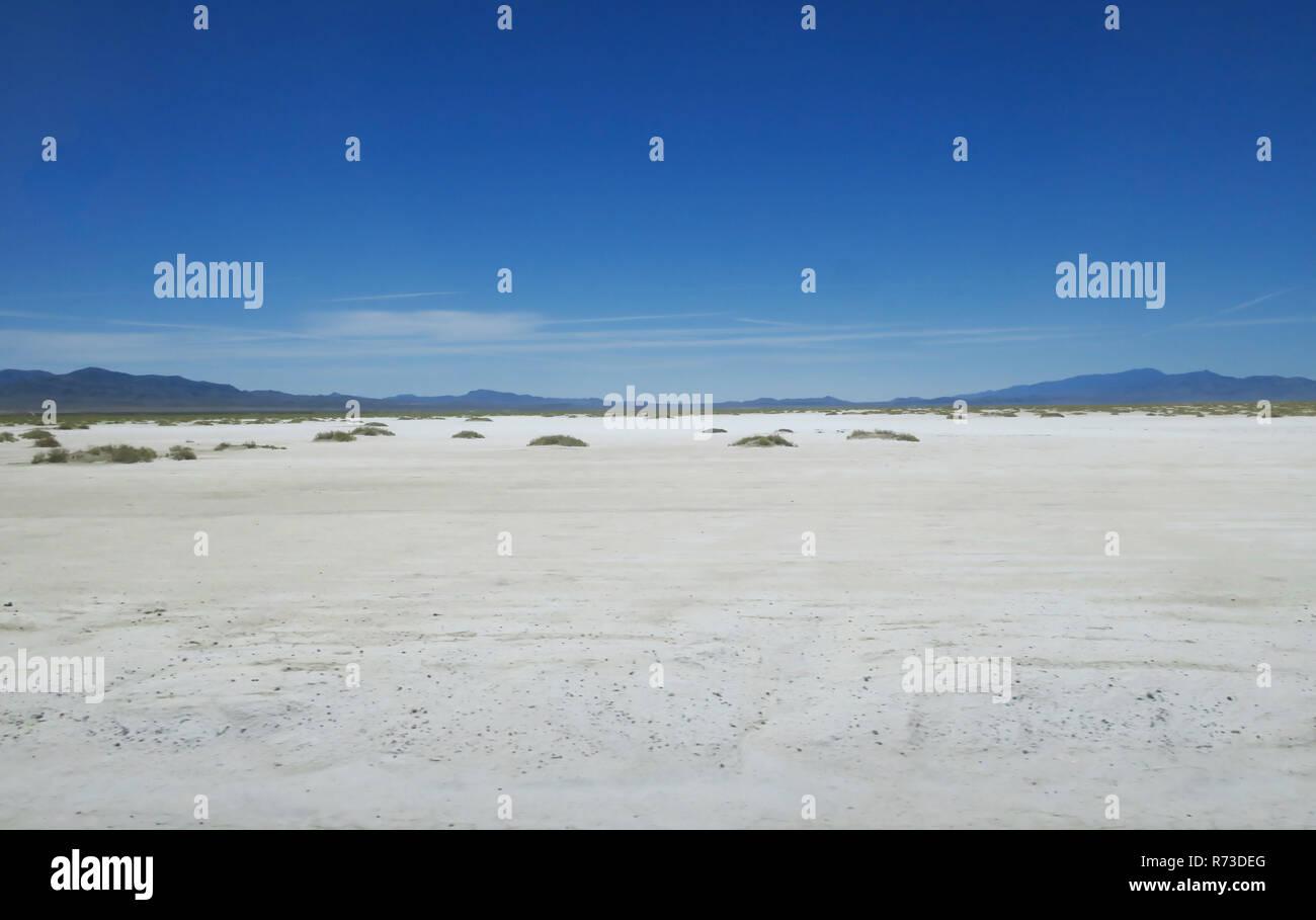 Looking out over the Utah Bonneville Salt Flats. Stock Photo