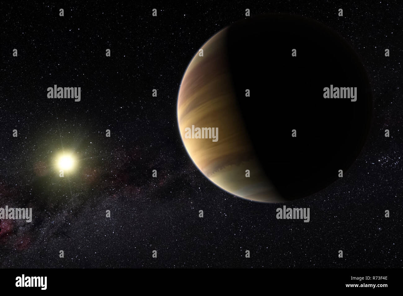 A large gas planet on the background of its star. Computer graphics. Exoplanet in the artist's view - Stock Image