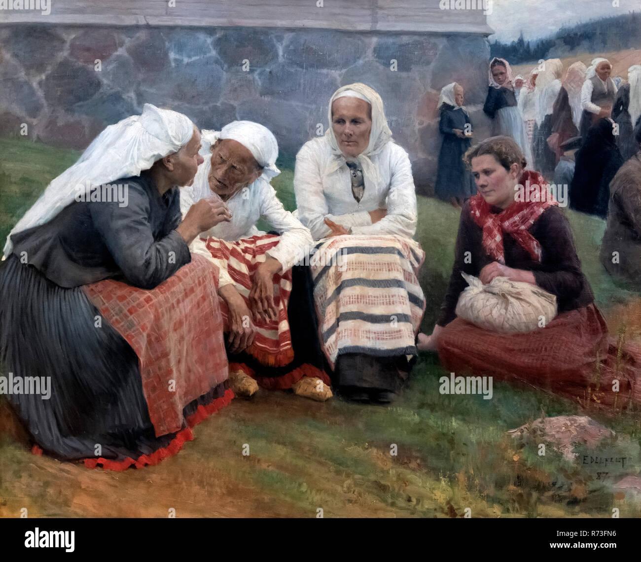 Women outside the Church at Ruokolahti by Albert Gustaf Aristides Edelfelt (1854-1905), oil on canvas, 1887 Stock Photo