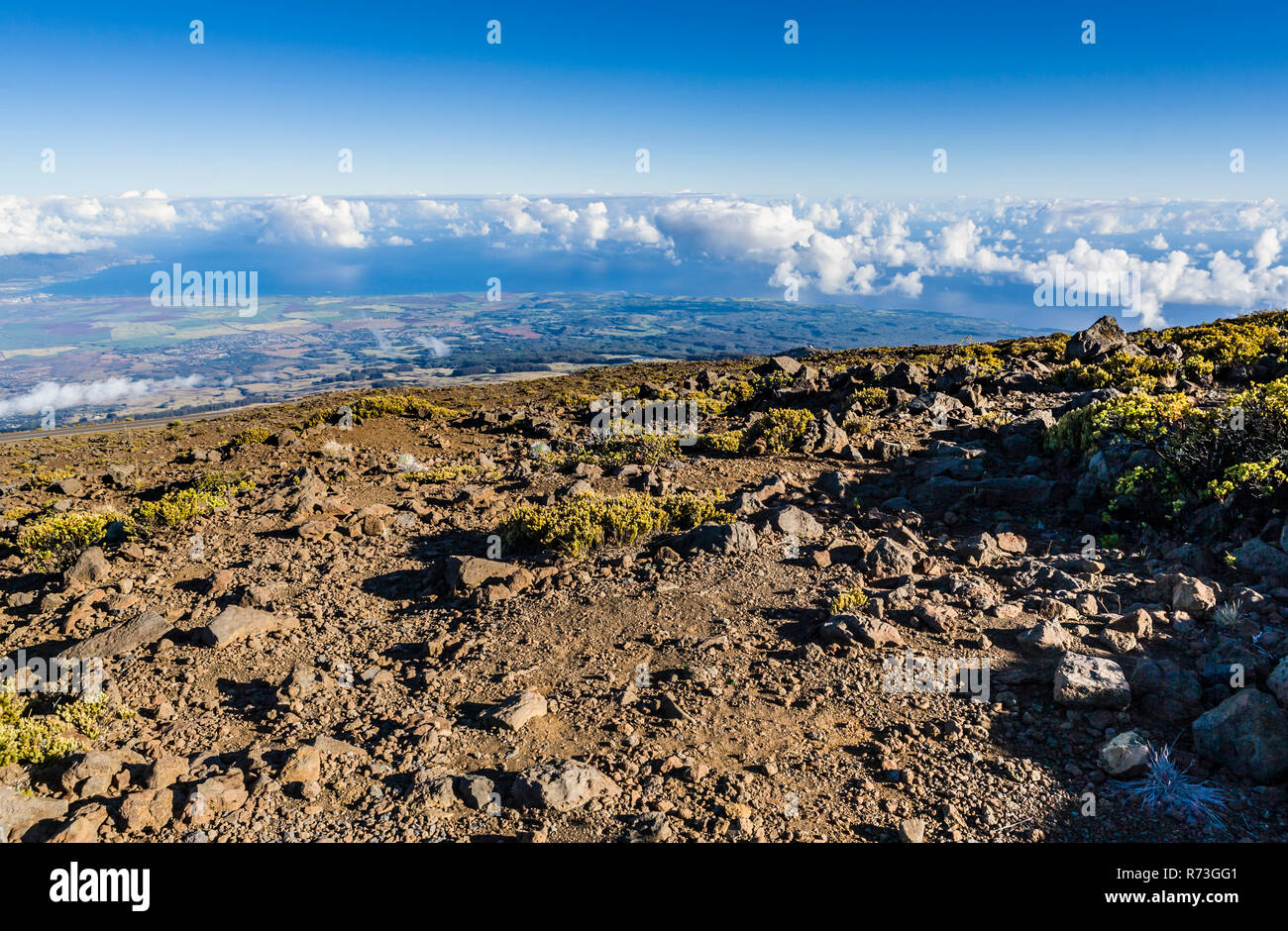Looking North from the slopes of Haleakala On Maui, Hawaii, USA. - Stock Image