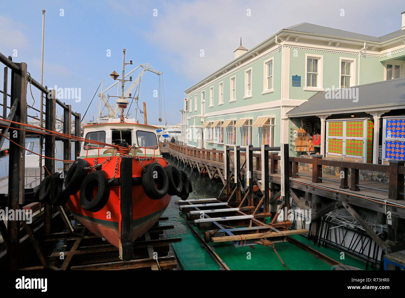 Dry dock, fishing boat, harbour, Victoria and Alfred Waterfront, Cape Town, South Africa, Africa - Stock Image